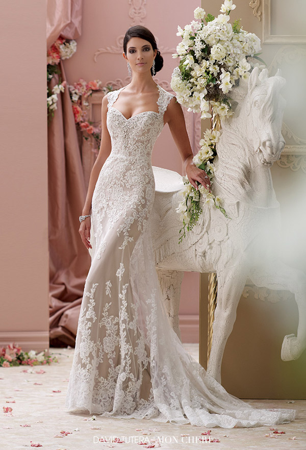 david tutera mon cheri spring 2015 style 115229 lourdes corded lace slim a line cap sleeve wedding dress ivory mocha
