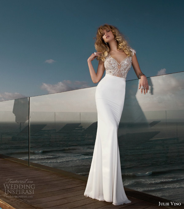 julie vino bridal spring 2015 empire erin cap sleeve embellished bodice wedding dress