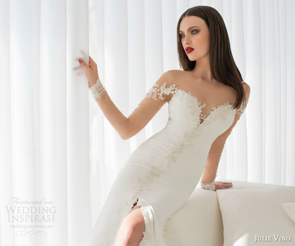 julie vino bridal spring 2015 urban elsa sheath wedding dress illusion sleeves neckline slit skirt close up bodice