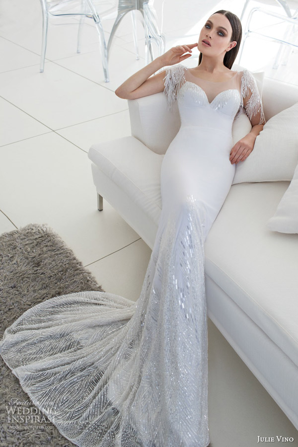 julie vino bridal spring 2015 urban isabelle wedding dress illusion back beaded sleeves full view