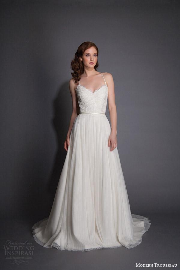 modern trousseau spring 2016 farren sleeveless soft a line wedding dress spaghetti straps lace bodice