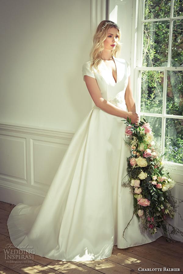 charlotte balbier 2016 bridal cap sleeves v neckline a line wedding dress tarron