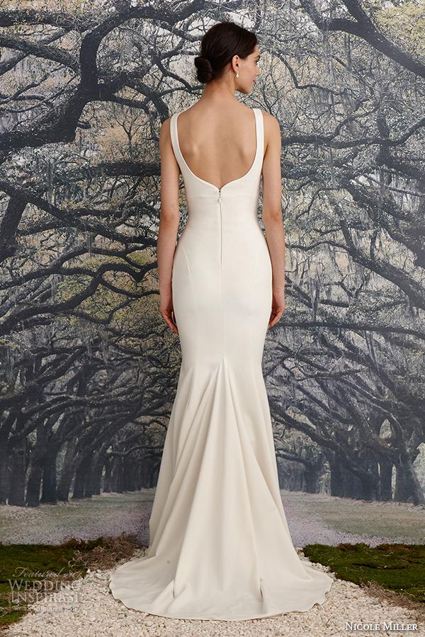 nicole miller spring 2016 bridal sleeveless strap stretch twill sheath wedding dress abigiail back