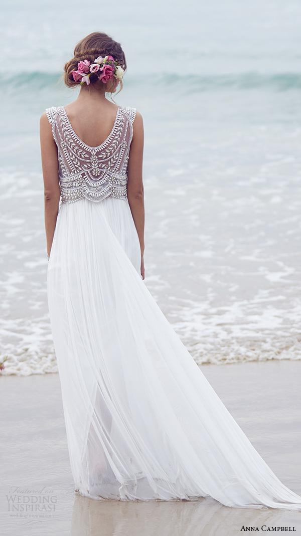 anna campbell 2015 bridal dresse sleeveless scoop neckline embellished bodice silk tulle romantic wedding dress madison back view