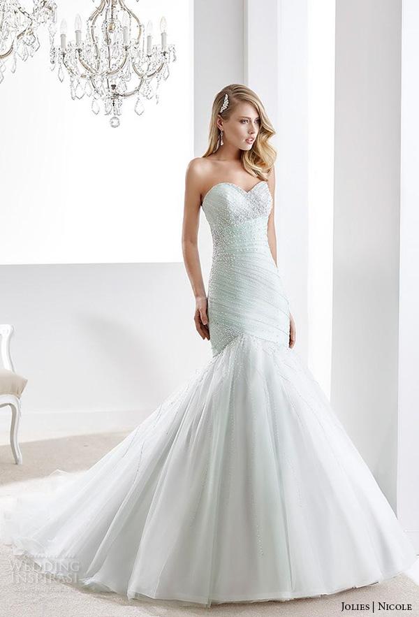 nicole jolies 2016 wedding dresses strapless sweetheart neckline beaded pastel green pretty mermaid wedding dress joab16424