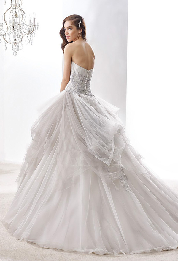nicole jolies 2016 wedding dresses strapless sweetheart neckline beautiful gray ball gown wedding dress joab16405 back view