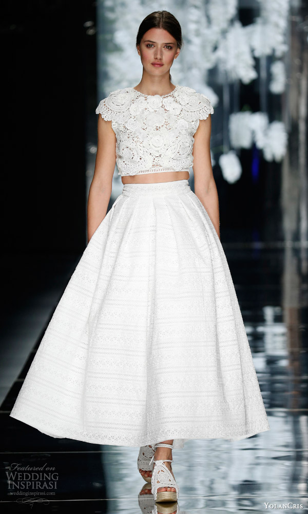 yolancris bridal 2016 berenguer two piece wedding dress cotton guipure lace cap sleeve crop top midi tea length skirt