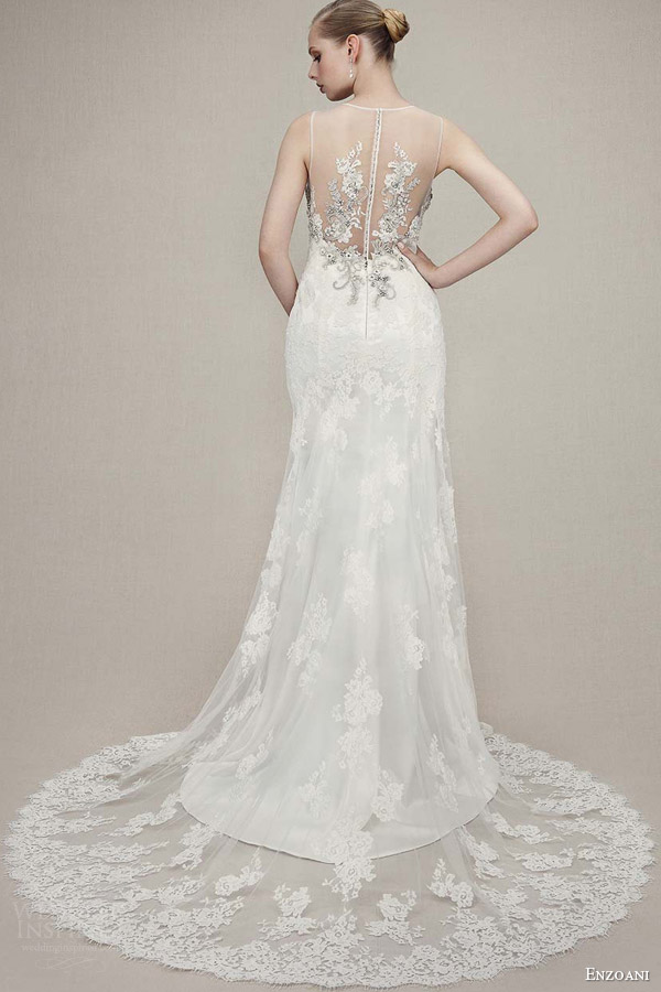 enzoani bridal 2016 kaitlyn sleeveless trumpet gown illusion neckline beaded bodice back view train
