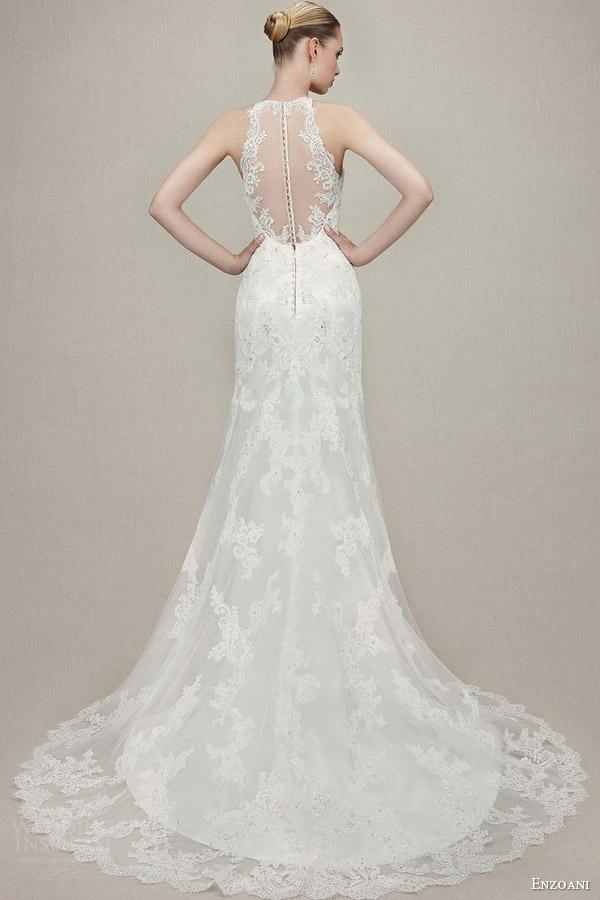 enzoani bridal 2016 kamila sleeveless trumpet wedding dress illusion halter neckline back view train