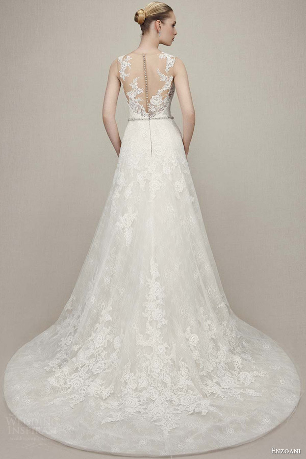 enzoani bridal 2016 karina sleeveless lace romantic wedding dress a line beaded attached belt illusion back view train