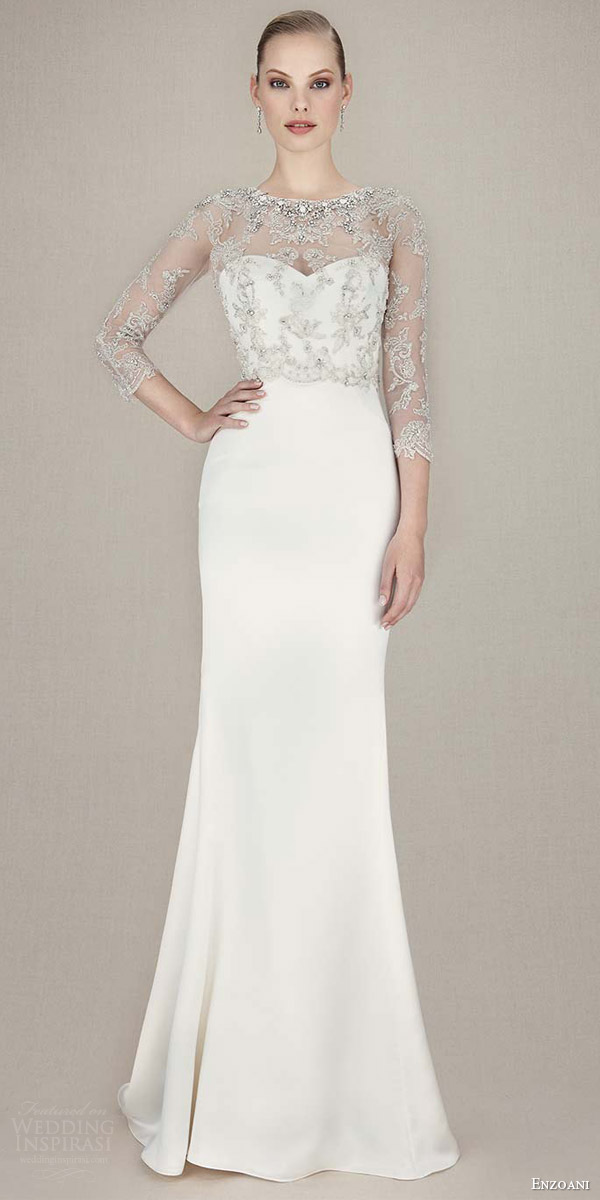 enzoani bridal 2016 kasey mermaid wedding dress embroidered beaded tulle lace jacket sleeves