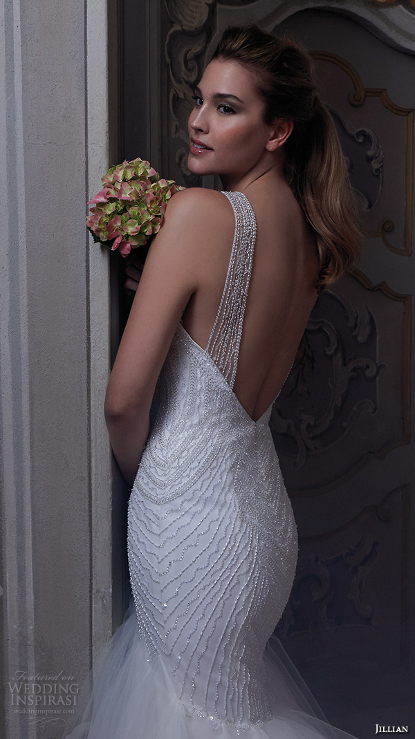 jillian 2016 wedding dresses beaded strap sweet heart deep neckline embroidered bodice fit to flare beautiful mermaid wedding dress corinna back view