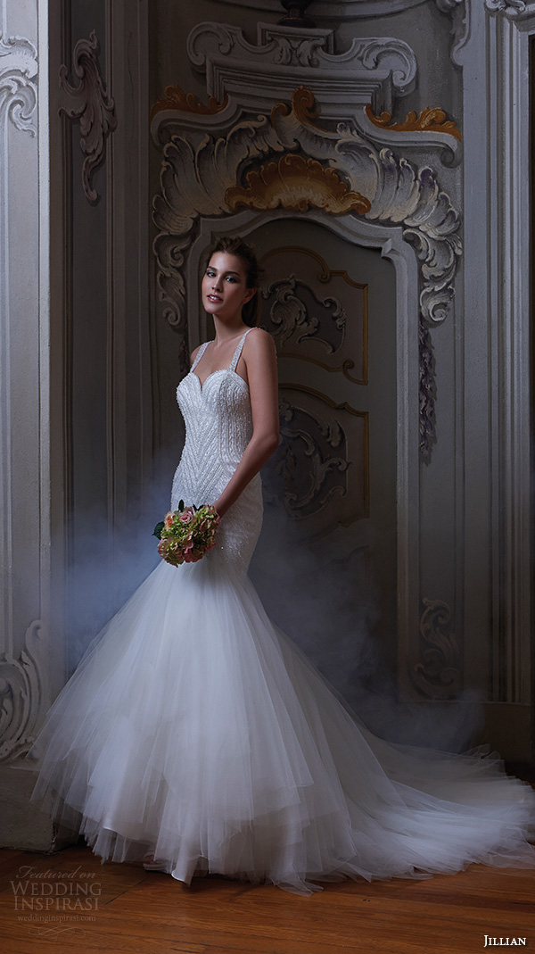 jillian 2016 wedding dresses beaded strap sweet heart deep neckline embroidered bodice fit to flare beautiful mermaid wedding dress corinna