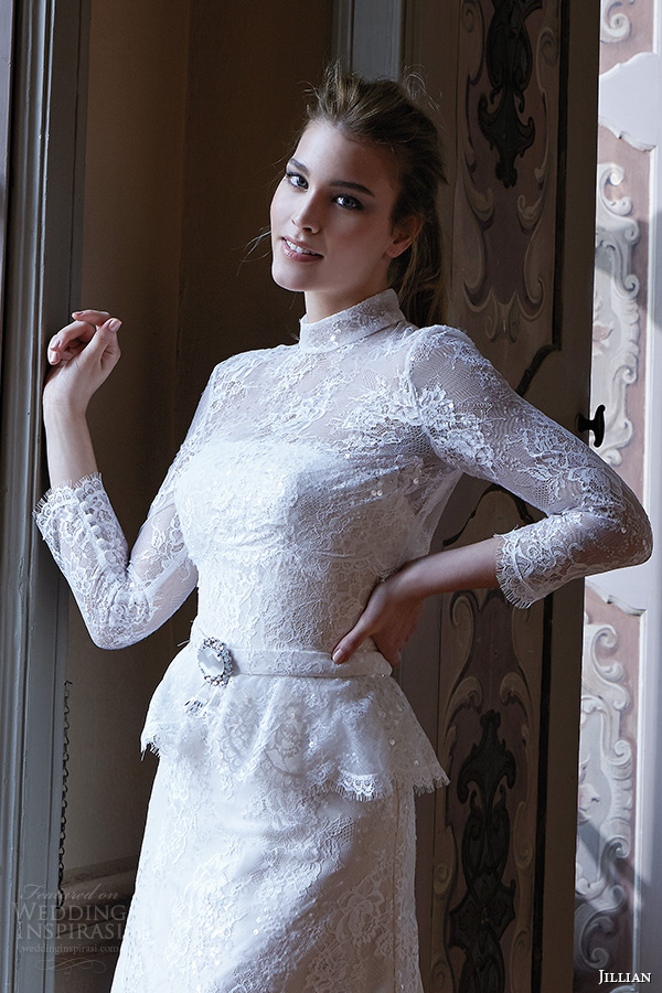 jillian 2016 wedding dresses high neck long sleeves beautiful tulle a line wedding dress camilla closeup