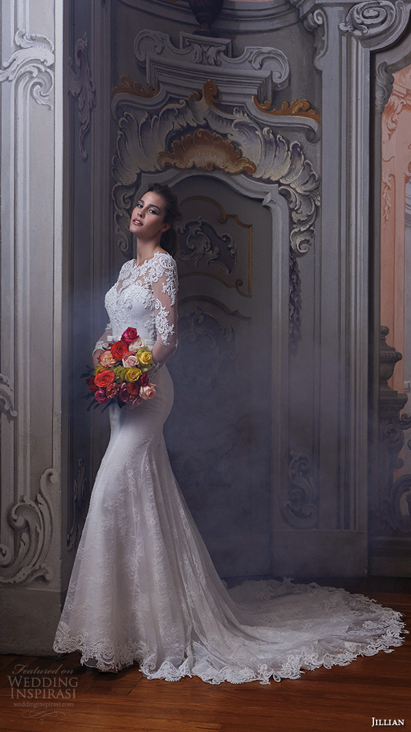 jillian 2016 wedding dresses jewel lace neckline lace sheer long sleeves embroideried bodice slim fit stunning gorgeous wedding dress chapel train cherie