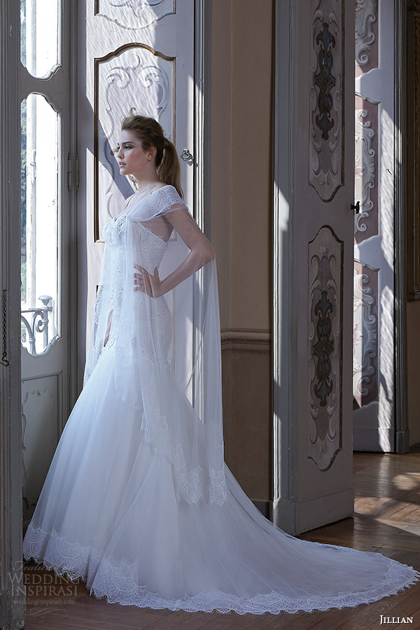 jillian 2016 wedding dresses spagetti strap sweetheart neckline tulle drop waist skirt a line wedding dress clarissa lace cape