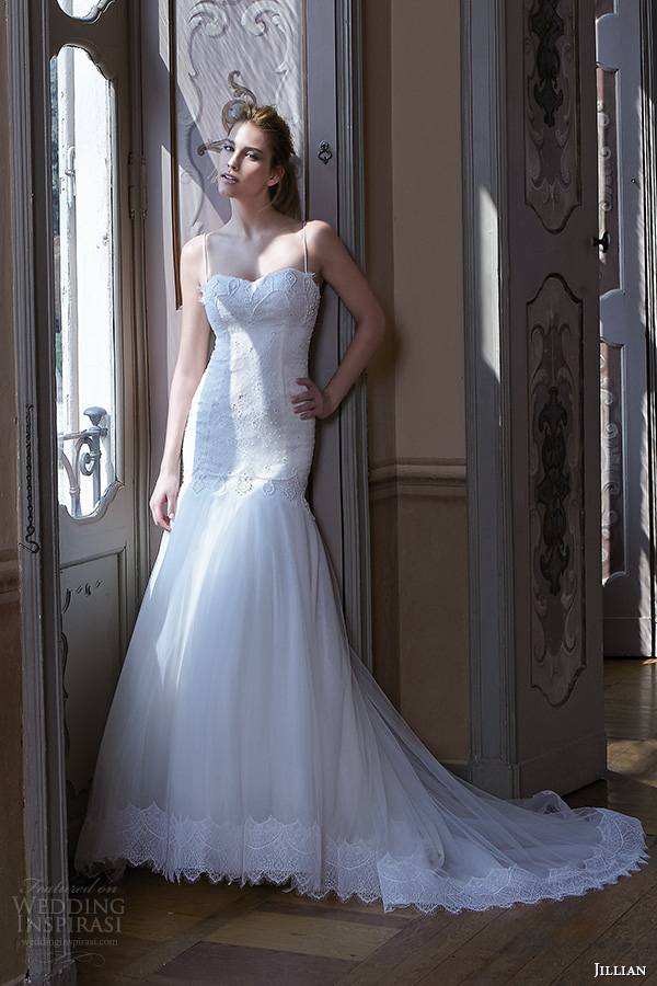 jillian 2016 wedding dresses spagetti strap sweetheart neckline tulle drop waist skirt a line wedding dress clarissa