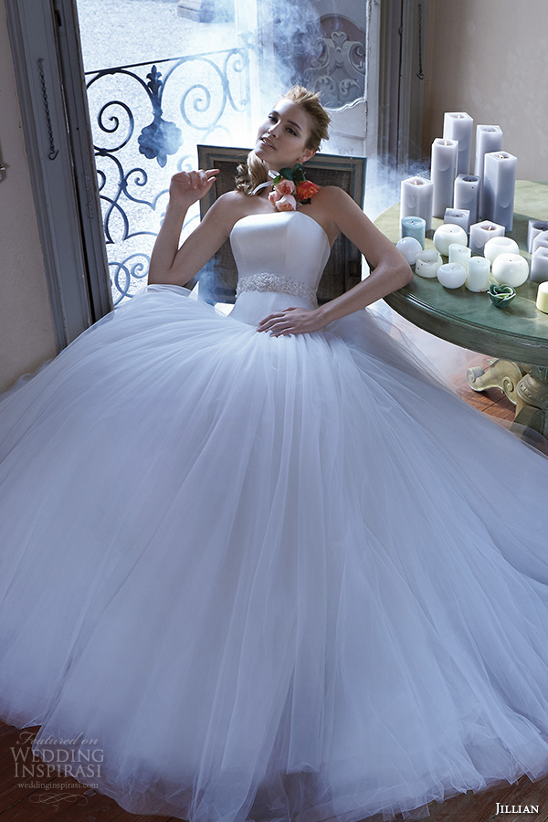 jillian 2016 wedding dresses strapless straight across jeweled belt sash tulle ball gown wedding dress chrissy