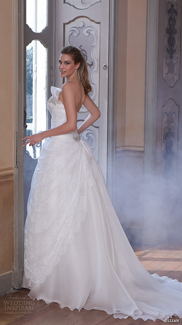 jillian 2016 wedding dresses strapless straight across  neckline drop waist a line wedding dress carrie back view