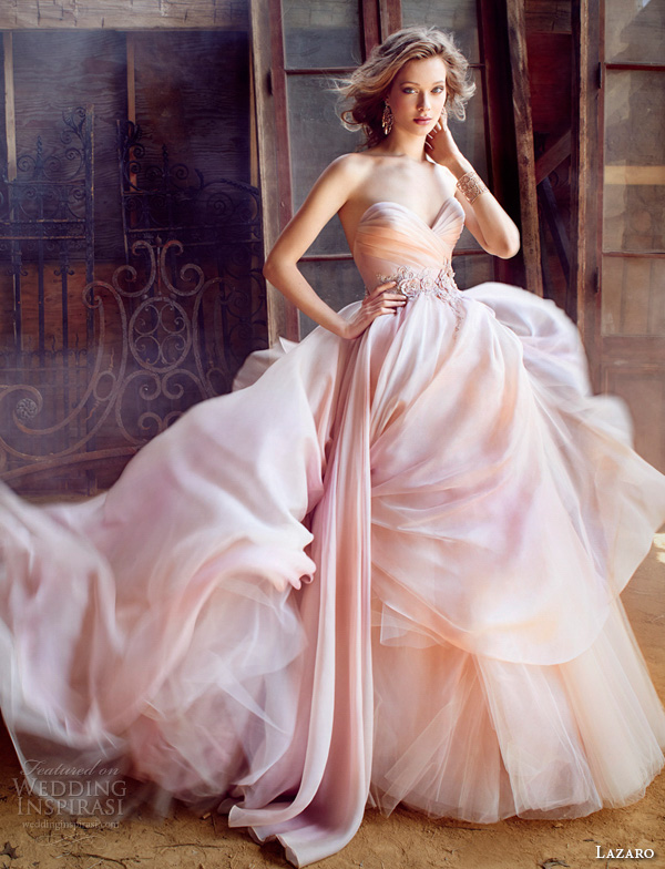 lazaro fall 2015 wedding dresses bridal silk organza ball strapless sweetheart pleated floral beaded natural tulle underlay sweep lz3561