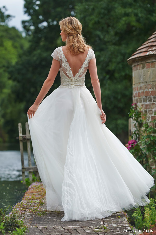 52a5bd96cdad stephanie allin bridal 2016 dominique illusion shrug top tulle skirt v back  view