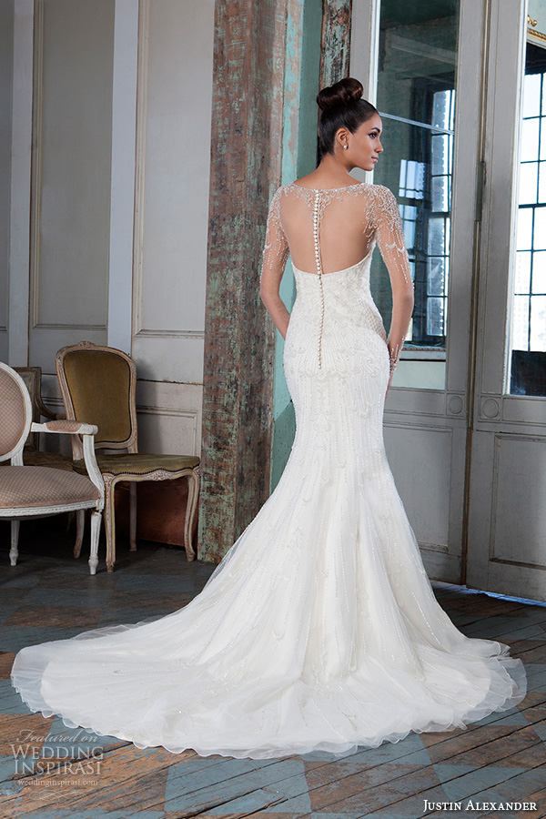 justin alexander signature spring 2016 beautiful mermaid wedding dress fit flare trumpet jeweled illusion bateau neckline long sleeves gown 9817 sheer back chapel train