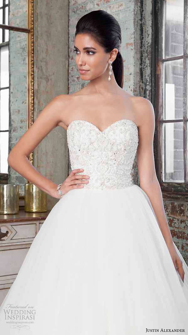 justin alexander signature spring 2016 gorgeous wedding ball gown strapless beaded embroidery bodice 9811 closeup
