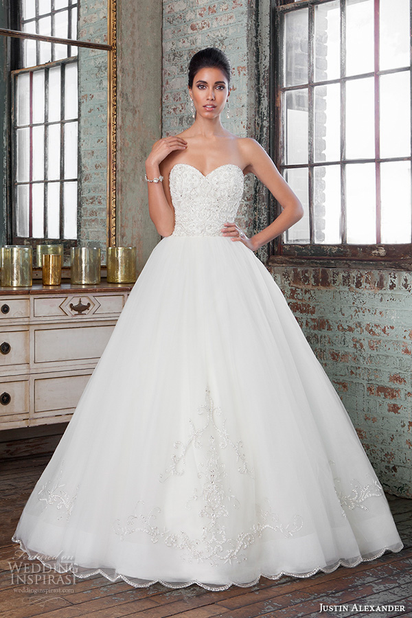 justin alexander signature spring 2016 gorgeous wedding ball gown strapless beaded embroidery bodice 9811