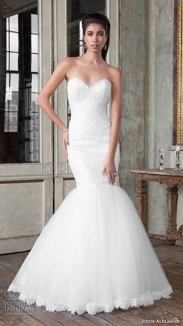 justin alexander signature spring 2016 pretty mermaid wedding dress strapless sweetheart neckline lace embroidery 9814