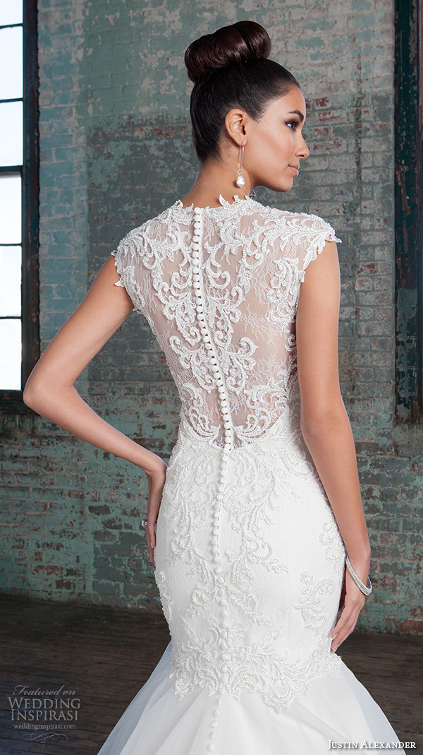 justin alexander signature spring 2016 stunning mermaid wedding dress v neckline sleeveless lace embroidered gown 9812.sheer lace back closeup