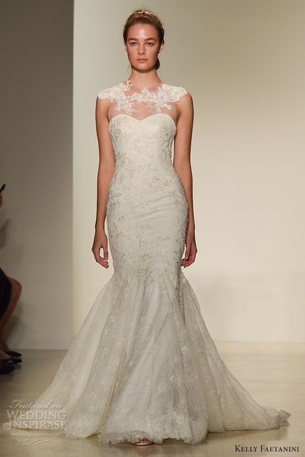 kelly faetanini fall 2016 wedding dress bridal week runway fashion beautiful mermaid gown trumpet fit to flare