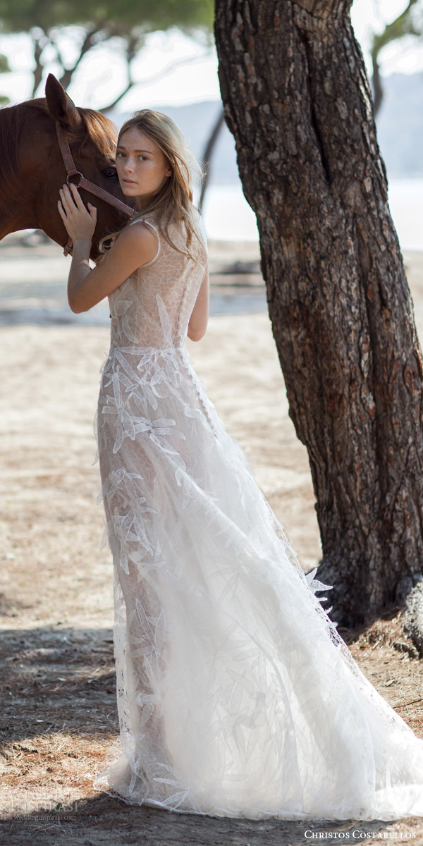christos costarellos bridal spring 2016 sleeveless gossamer wedding dress hand place appliques