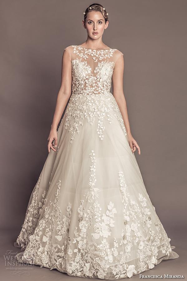 0bd340bbac5f francesca miranda fall 2016 bridal sleeveless bateau illusion lace neckline  flora embroidered beautiful a line wedding