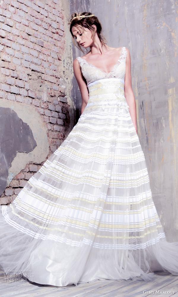 gemy maalouf bridal 2016 sleeveless deep v neck a line wedding dress pleated skirt