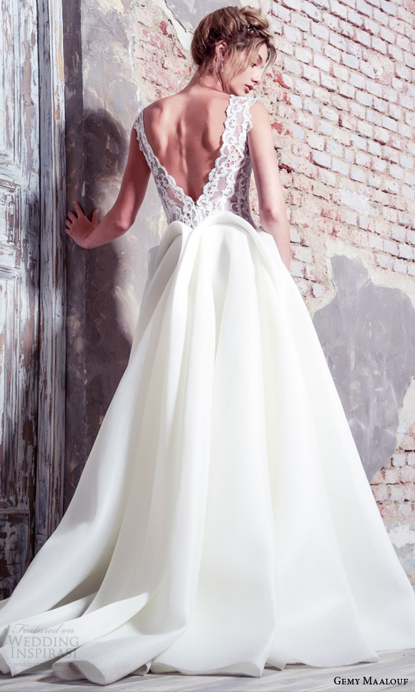 gemy maalouf bridal 2016 unconventional cap sleeve lace bodice ball gown wedding dress peplum low back view