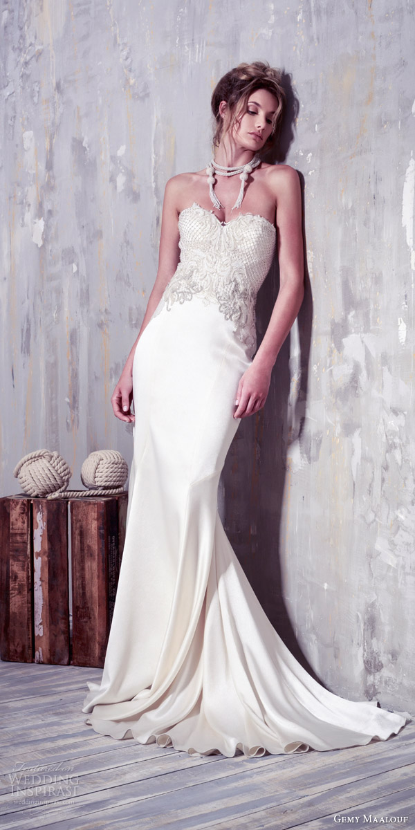 bf54a116825 gemy maalouf couture wedding dresses 2016 bridal gown strapless sheath  mermaid wedding dress embellished sweetheart bodice