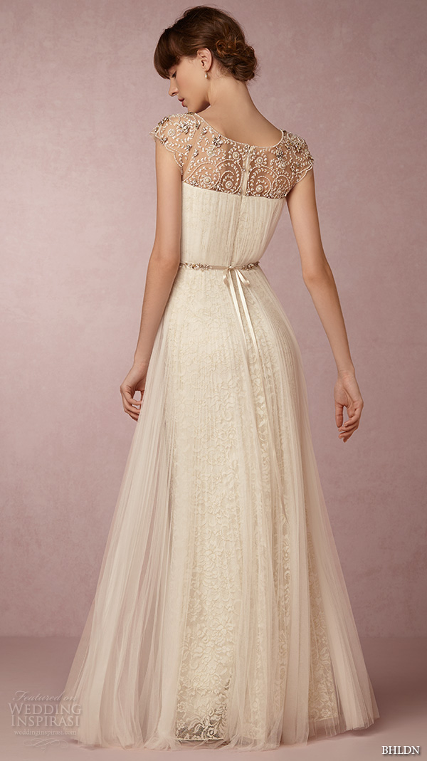 bhldn spring 2016 cap sleeves illusion jewel straight across beaded neckline vintage romantic tulle a line wedding dress beaded back (tiernan) bkv