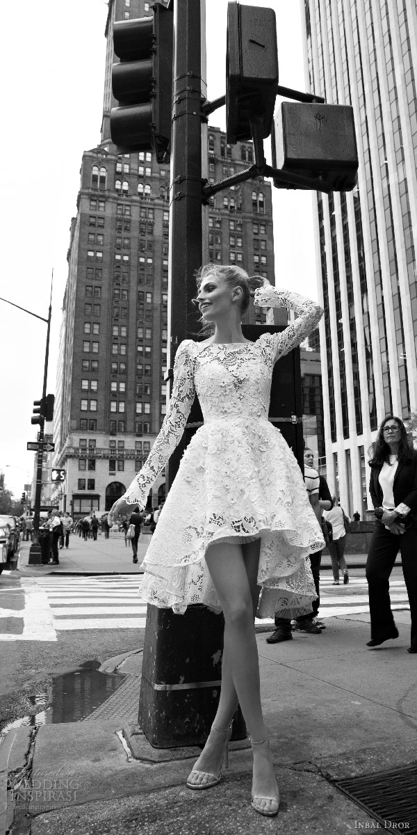 inbal dror 2016 bateau neck long bell sleeve lace ball gown short high low wedding dress style 02 mv