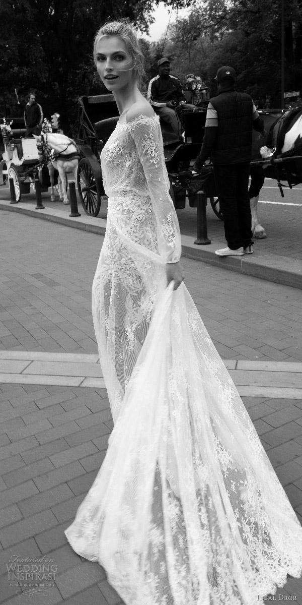 5105af0b5895 inbal dror 2016 off shoulder illusion blouson bodice long sleeve bishop lace  a line wedding dress