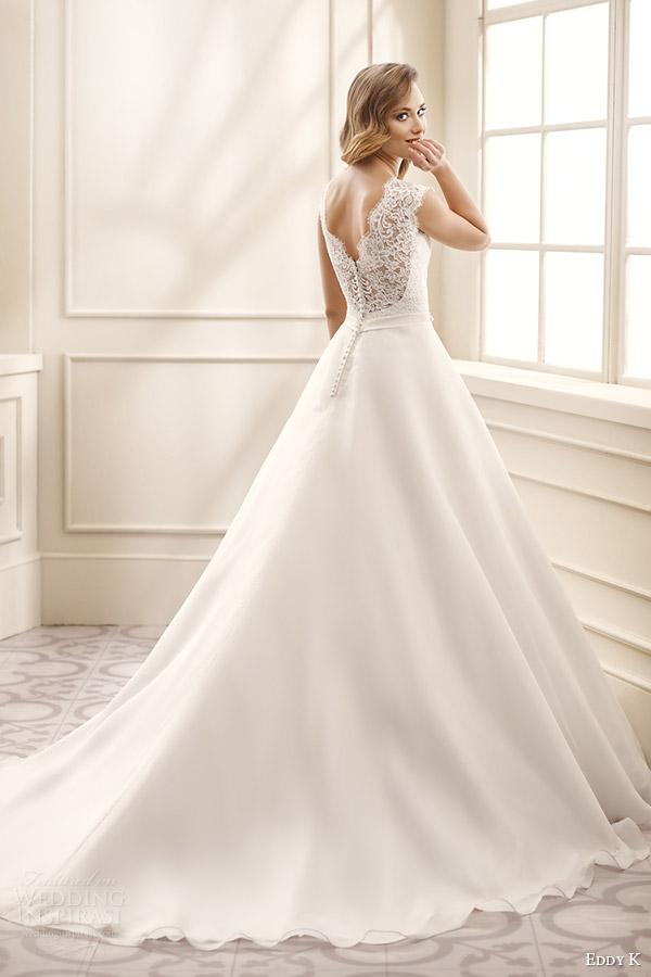 eddy k bridal 2016 cap sleeves sweetheart lace bodice a line wedding dress (ek1064) bv v back medium train romantic classic
