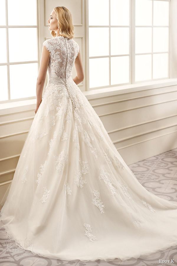 eddy k bridal 2016 cap sleeves thick straps lace bodice a line wedding dress (ek1069) bv medium train romantic