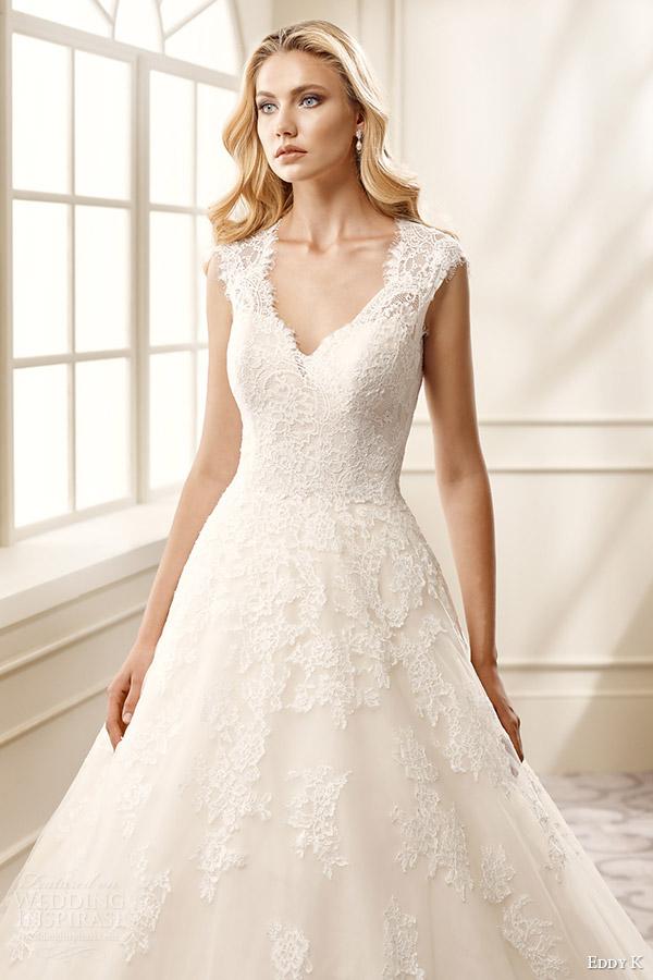 eddy k bridal 2016 cap sleeves thick straps lace bodice a line wedding dress (ek1069) zv romantic