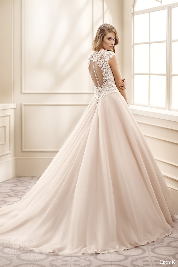eddy k bridal 2016 cap sleeves v neck lace bodice ball gown wedding dress (ek1076) bv  keyhole back medium train  champagne color romantic