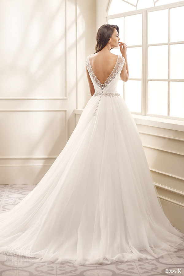 eddy k bridal 2016 illusion cap sleeves sweetheart surplice bodice ball gown wedding dress (ek1075) bv vback medium train romantic
