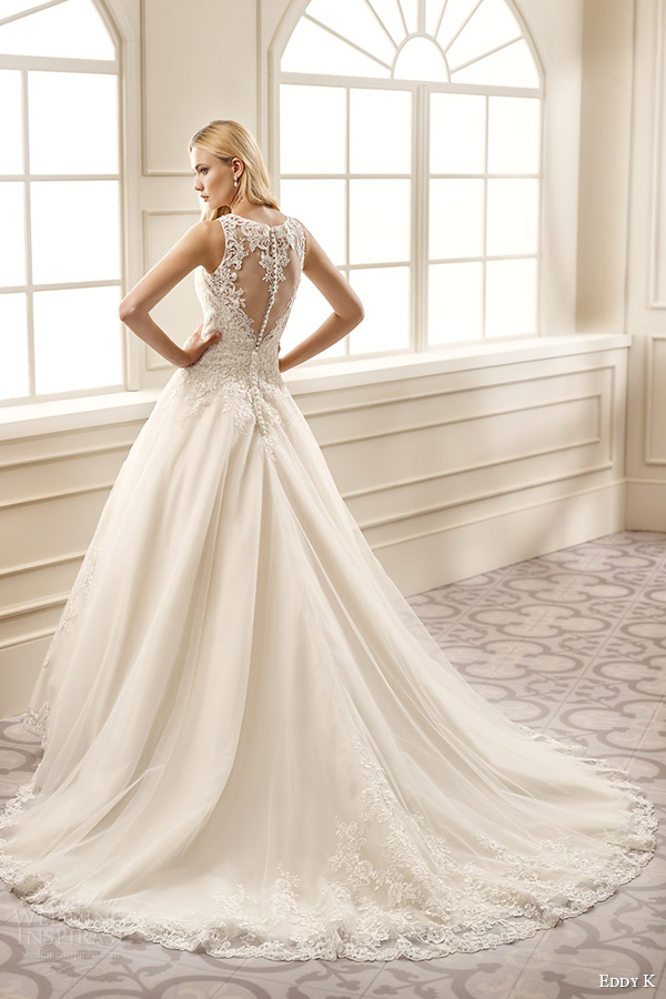 eddy k bridal 2016 sleeveless sweetheart illusion jewel ball gown wedding dress (ek1077) bv lace back medium train romantic