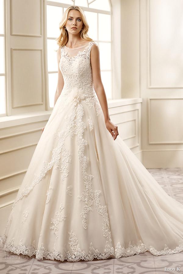 eddy k bridal 2016 sleeveless sweetheart illusion jewel ball gown wedding dress (ek1077) mv romantic