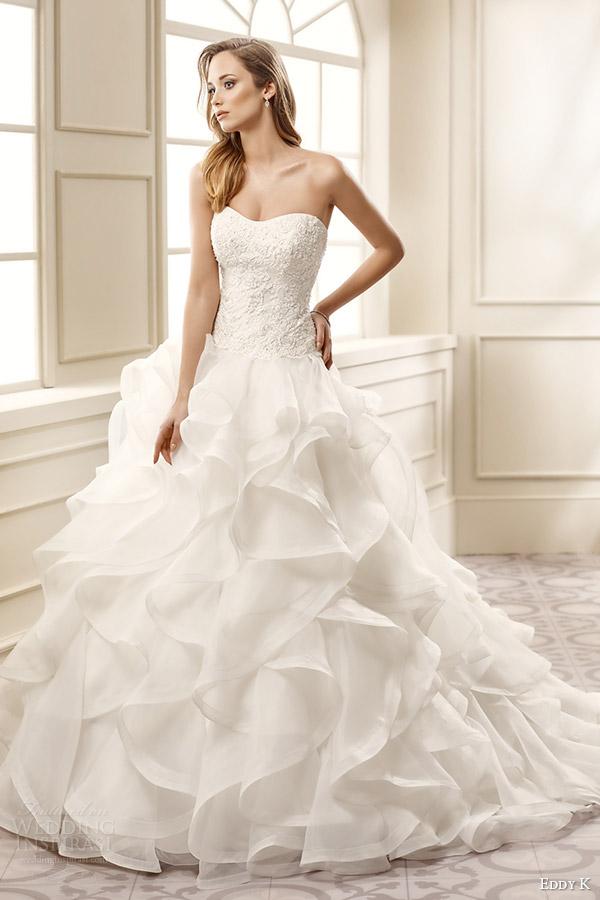 eddy k bridal 2016 strapless semi sweetheart lace bodice ruffle skirt a line wedding dress (ek1067) mv classic romantic