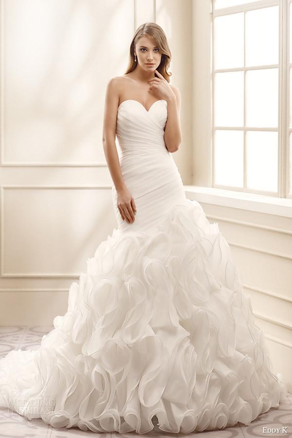 eddy k bridal 2016 strapless sweetheart surplice pleated bodice ruffle skirt drop waist a line wedding dress (ek1074) mv romantic