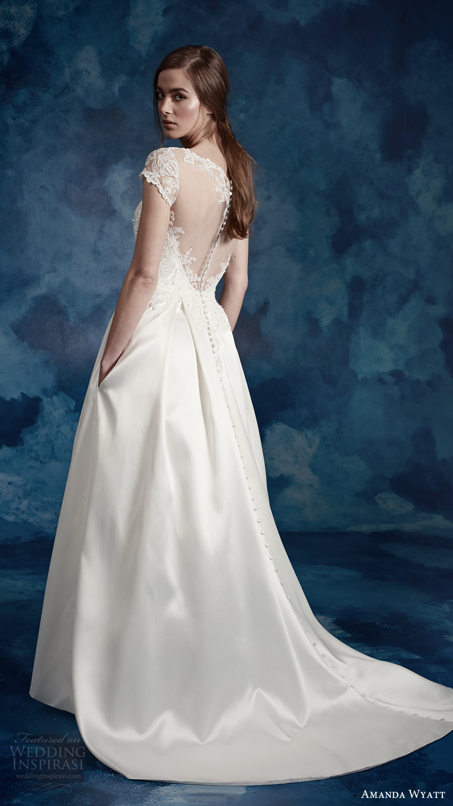 amanda wyatt bridal 2017 cap sleeves sweetheart illusion jewel a line wedding dress (wren) bv pockets train illusion back romantic