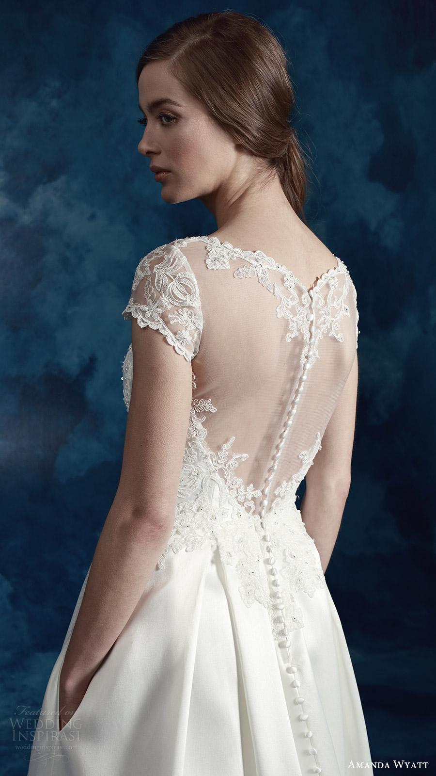 amanda wyatt bridal 2017 cap sleeves sweetheart illusion jewel a line wedding dress (wren) zbv pockets train illusion back romantic